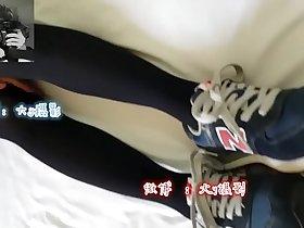 Chinese girl give blowjob and footjob