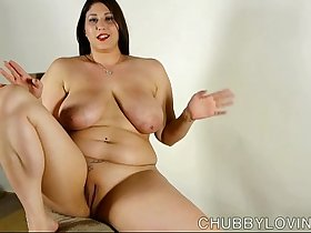 Beautiful busty BBW brunette loves to talk about her nice big tits