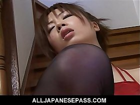 Sexy Japanese slut fingers and toys her pussy on the steps squirting