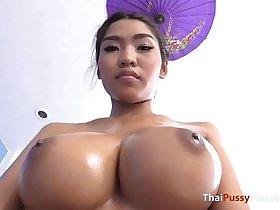 Massaging big natural boobs before fucking raw