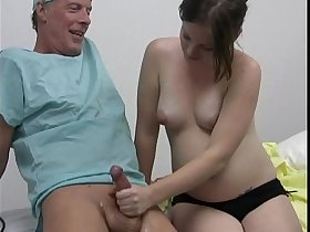 Horny doctor gets a handjob from her pregnant patient