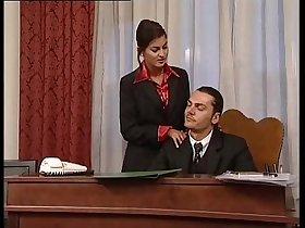 Hot secretary in mini skirt banged by her head office