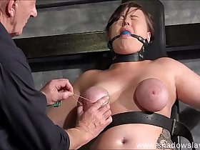 Tied slave Taylor Hearts breast bondage and elastic punishment of nipples and fe